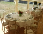 Long dinner marquee int. table design